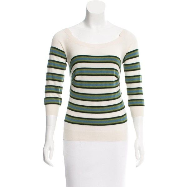 Pre-owned Louis Vuitton Cashmere Striped Sweater ($225) ❤ liked on Polyvore featuring tops, sweaters, white, cashmere crewneck sweater, louis vuitton sweater, stripe sweater, crewneck sweater and j.crew cashmere sweaters