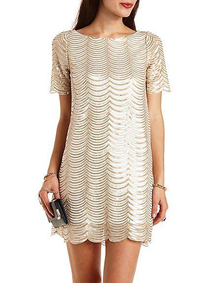 Scalloped Sequin Shift Dress #charlotterusse #charlottelook