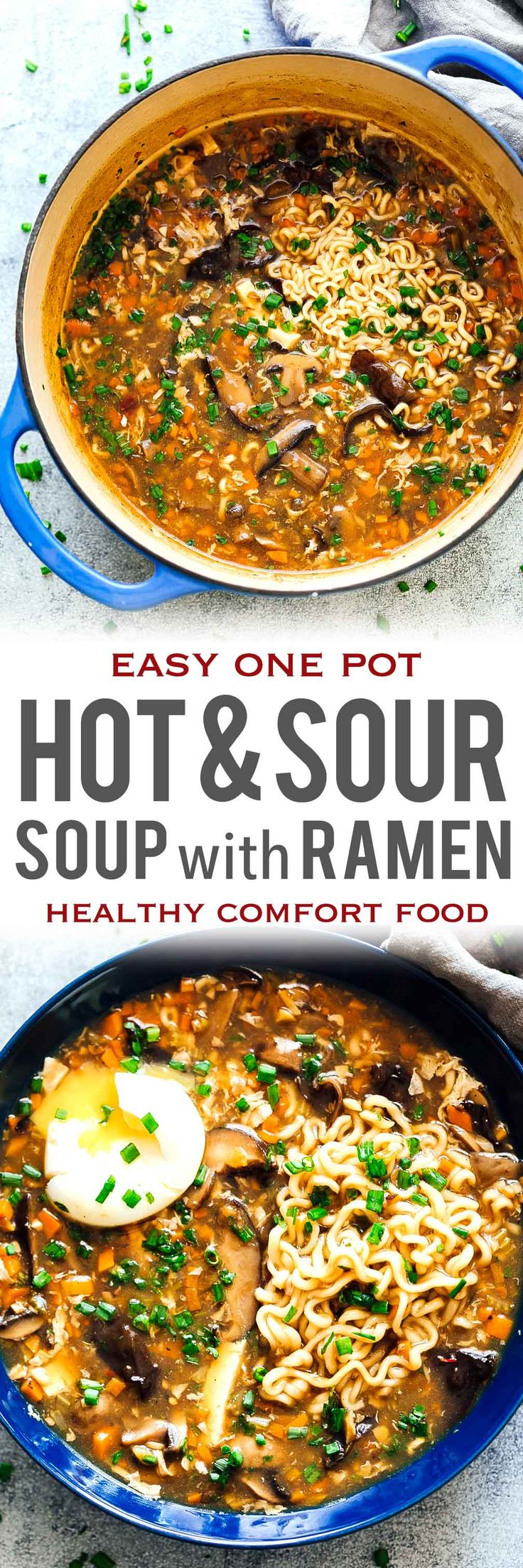 This Chinese Hot and Sour Soup with Ramen is the perfect comfort food that's ready in under 30 minutes! You'll love this authentic recipe - full of veggies, tofu, mushrooms and/or chicken, pork. Skip the ramen to make this one pot meal gluten free. via @my_foodstory