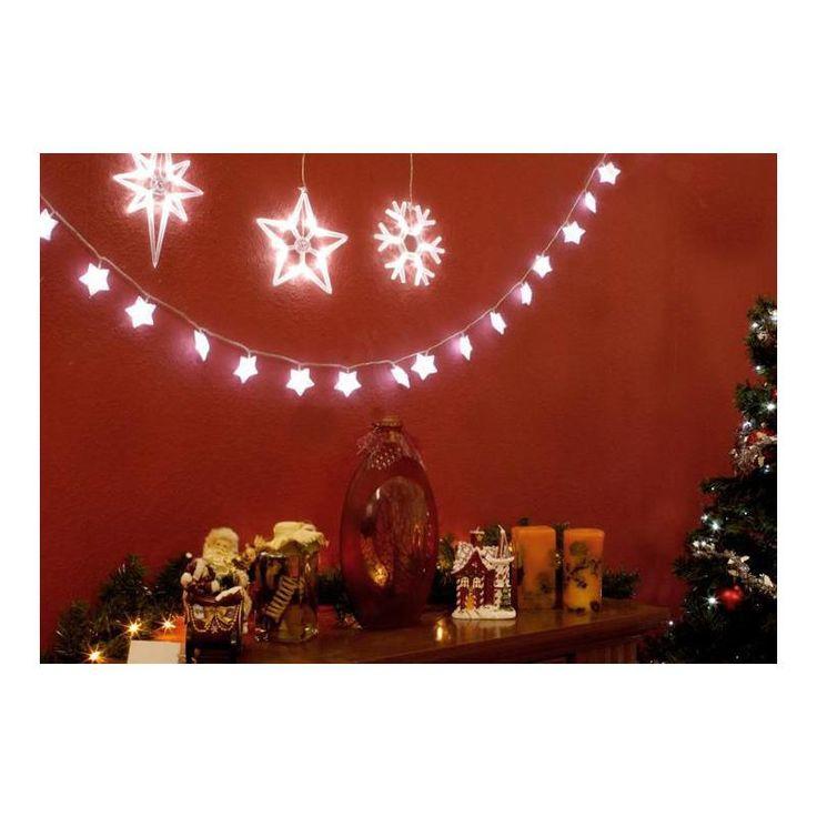 Vánoční interiérová dekorace na okno - sada 3 hvězda a vločka LED, na baterie - www.guge.cz