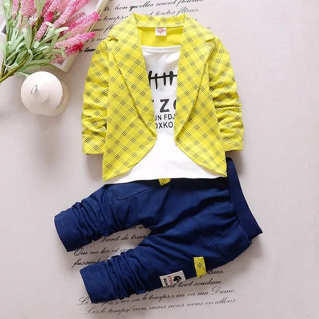 86f0e46b05fc Boys Plaid Suits Spring Autumn Party Clothing Set For 1-3 Years Old Baby  Boy Toddler Clothes 2 Pcs/set Kids Outwear