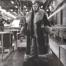 """When asked why Marimekko founder Armi Ratia decided to base Marimekko in Finland out of all places, she stated that she was """"not amused by easiness.""""  photo: Ratia in the Marimekko factory at Herttoniemi, mid 1970's"""