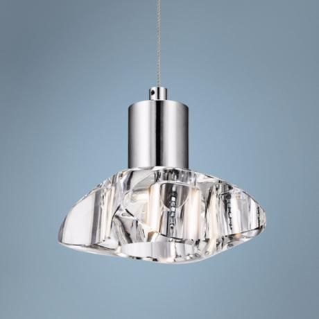 elan renzu chrome and crystal led mini pendant euro style lighting