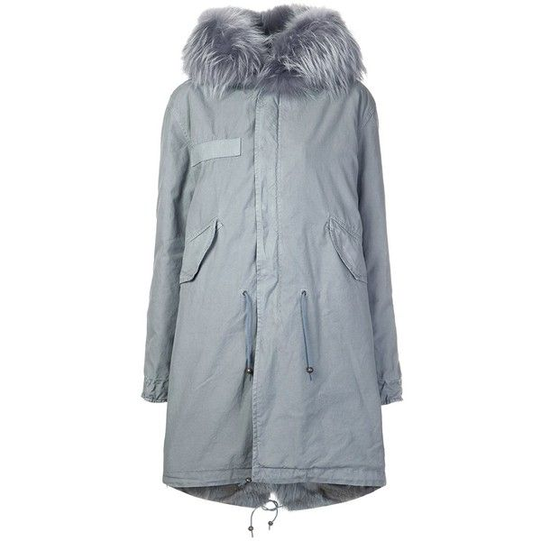 Mr & Mrs Italy fur collar parka ($8,135) ❤ liked on Polyvore featuring outerwear, coats, grey, fur collar coat, gray coat, parka coats, grey coat and grey parka