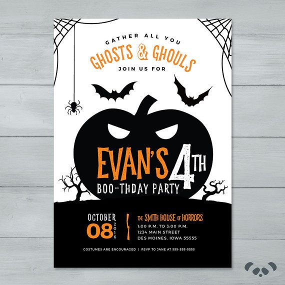 Halloween Birthday Party Invitation Pumpkin Spooky Halloween - Halloween birthday invitations party