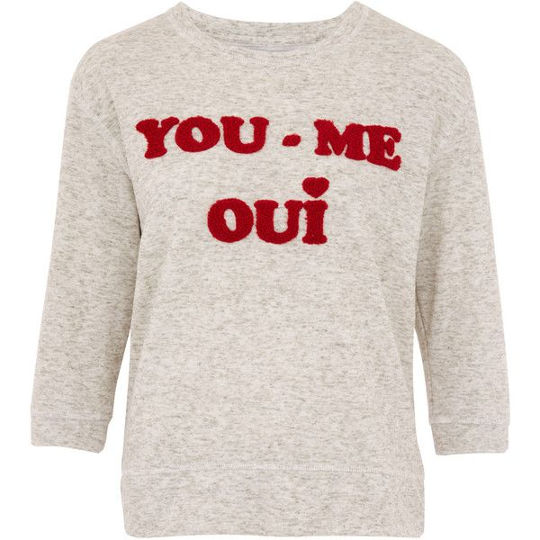 Zoe Karssen Grey You Me Oui Embroidered Sweatshirt ($185) ❤ liked on Polyvore featuring tops, hoodies, sweatshirts, shirts, cuff shirts, embroidered sweat shirts, grey sweat shirt, slogan shirts and grey sweatshirt
