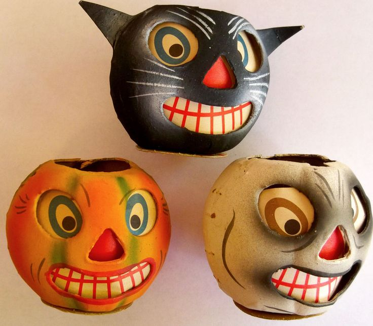 3 - Vintage German Halloween Paper Mache Lanterns Jack O Lantern Black Cat Ghost