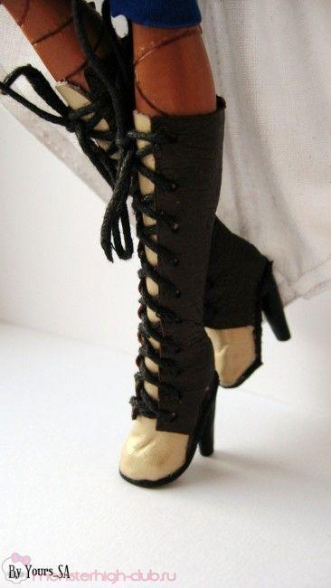 Сапожки на каблучке и шляпка для костюма в стиле стим-панк Робекки Стим
