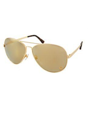 Imagen 1 de Gafas de sol estilo aviador con lentes doradas de espejo de Michael Kors