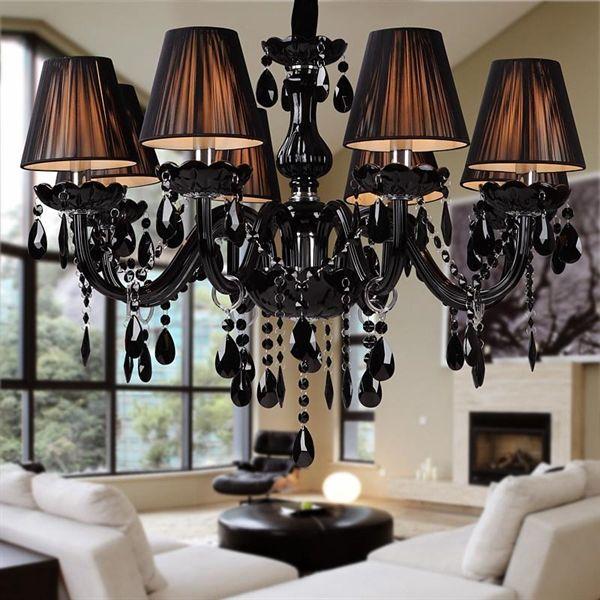 Black Crystal Chandelier Luxury Modern Black Chandelier Crystal Living 8 Lights In 2020 Crystal Ceiling Lamps Ceiling Lights Black Crystal Chandelier