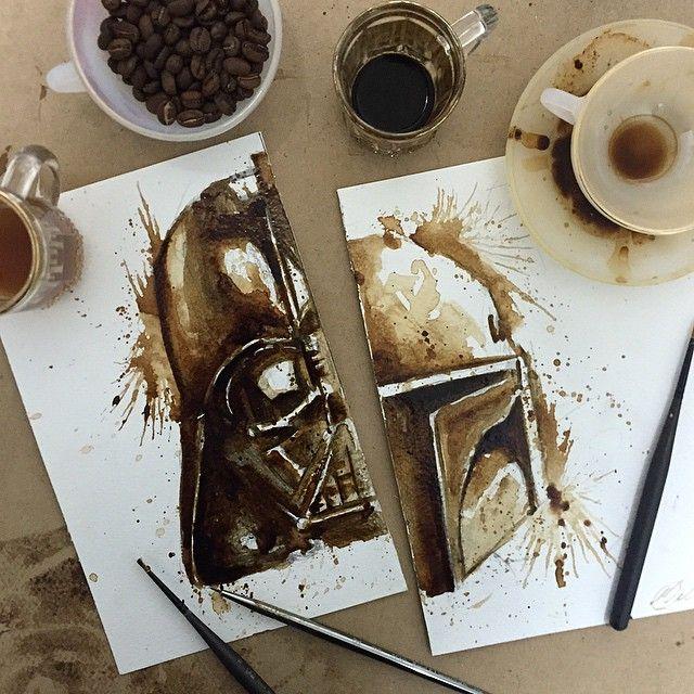 Garotas NerdsArtista plástica cria desenhos de Star Wars apenas com café - Garotas Nerds