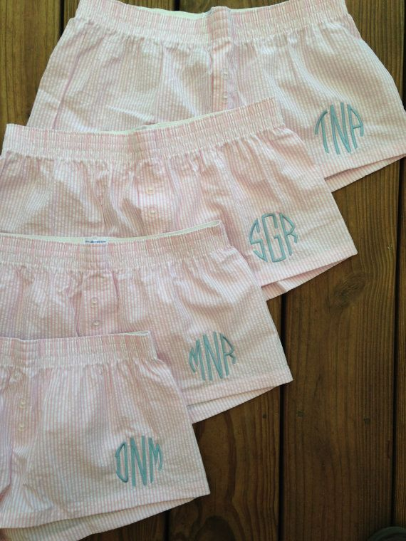 Bridal Party Set of 5 Monogram Seersucker Boxer Pajama PJ Shorts Personalized Preppy Monogrammed Initials Bride Wedding by Chickadee's Designs