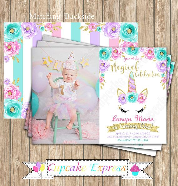 Unicorn Invitation Party Magical Ideas Photo Girls First Birthday