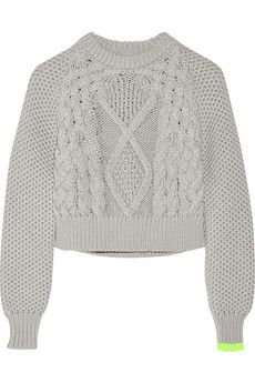 MM6 Maison Margiela Cropped chunky-knit cotton sweater | NET-A-PORTER