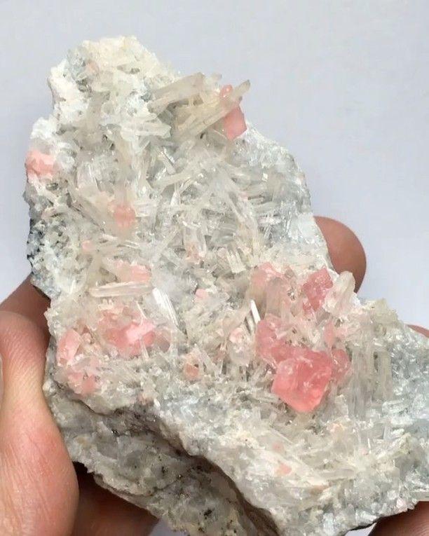 "234 Likes, 5 Comments - @dusted77 on Instagram: ""• Rhodochrosite on Quartz (needles) w/ Pyrite & Tetrahedrite • ~ Sweet Home Mine, Alma, Colorado,…"""