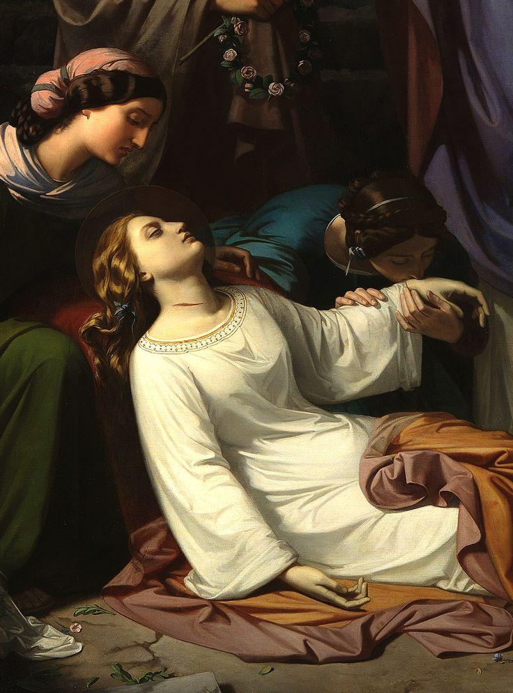 Luis de Madrazo, Entierro de Santa Cecilia en las Catacumbas de Roma (detail)