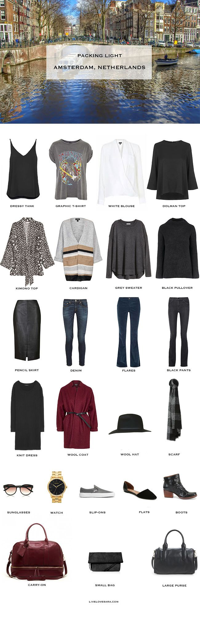 this weeks packing light, packing list is for Amsterdam plus outfit options here: http://livelovesara.com/2015/09/packing-light-amsterdam-outfit-options/