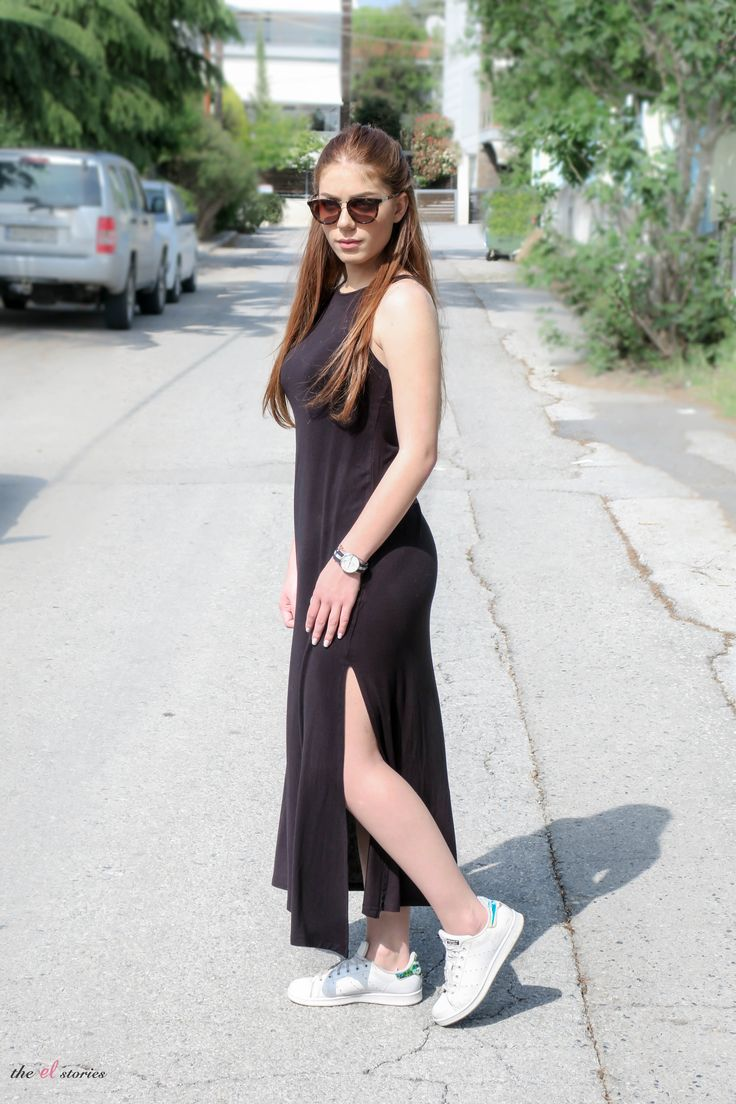 white sneakers and black maxi dress  - streetstyle