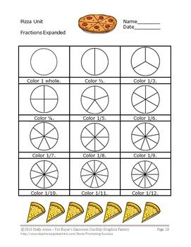 Worksheets Unit Fraction Worksheets 43 best images about math on pinterest multiplication and fractions here is a 23 page pizza unit it focuses the common
