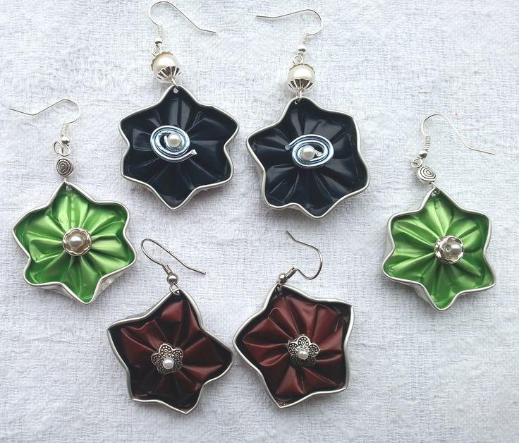 3 colori per le stelle - orecchini fatti con le capsule Nespresso