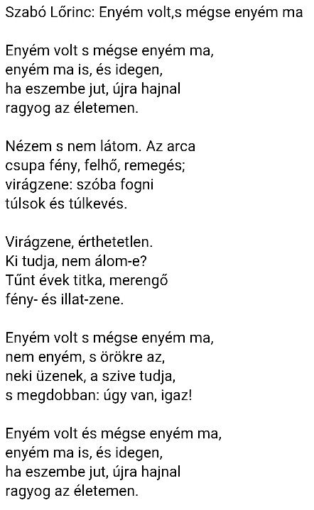 Szabó Lőrinc: Enyém volt, s mégse enyém ma