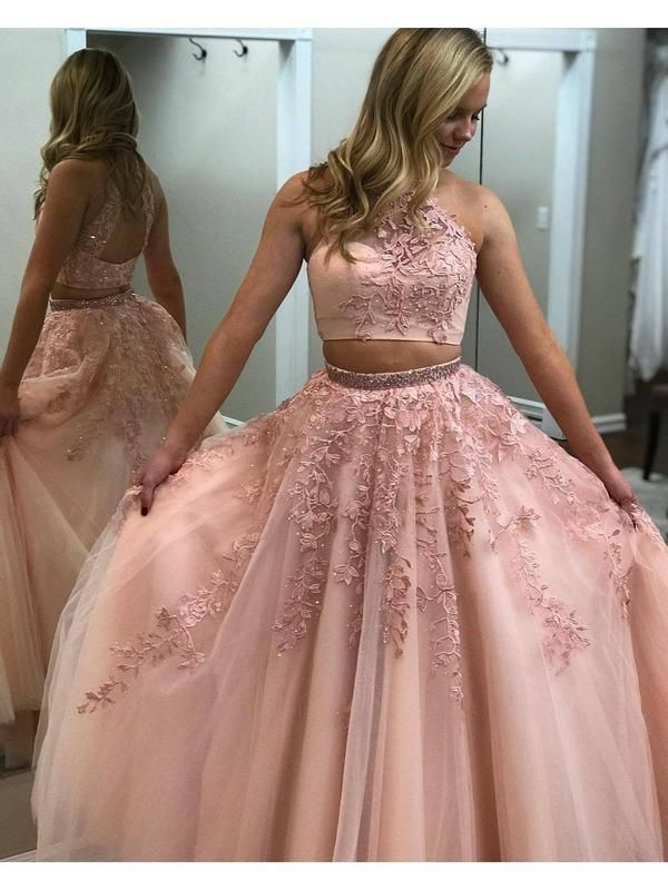 c7e6ddfdfef60 A-line/Princess Lace Appliqued Halter High Neck 2 Piece Prom Dresses  APD3076-SheerGirl