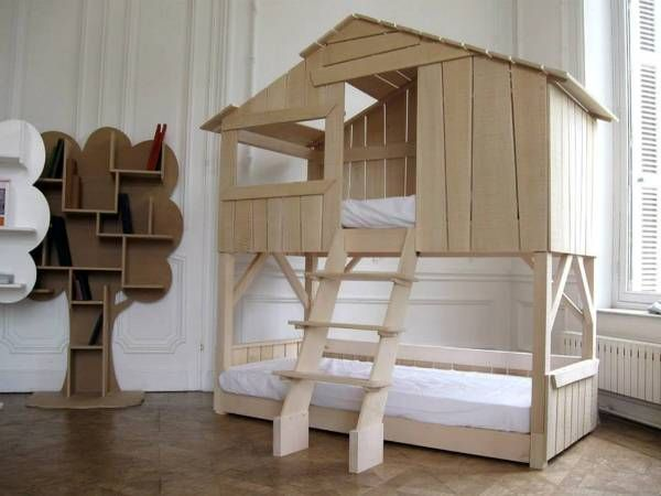 wooden bunk bed designed like a house                                                                                                                                                                                 More