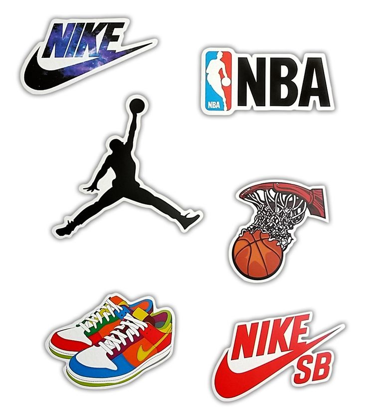 Basketball NBA Skateboard Stickers - Set of 6 Stickers