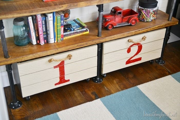 DIY Rolling Storage Crate for the boys' room