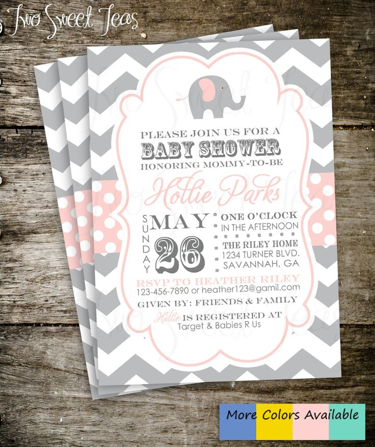elephant baby shower invitation chevron gray pink by 2sweetteas 15