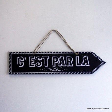 """Flèche noire réversible à suspendre """"C'est par là"""""""