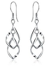 Sterling Silver Double Elongated Twisted Oval French Wire Fishhook Earrings - Drop Hoop Dangle Earrings at Giftopia Shop