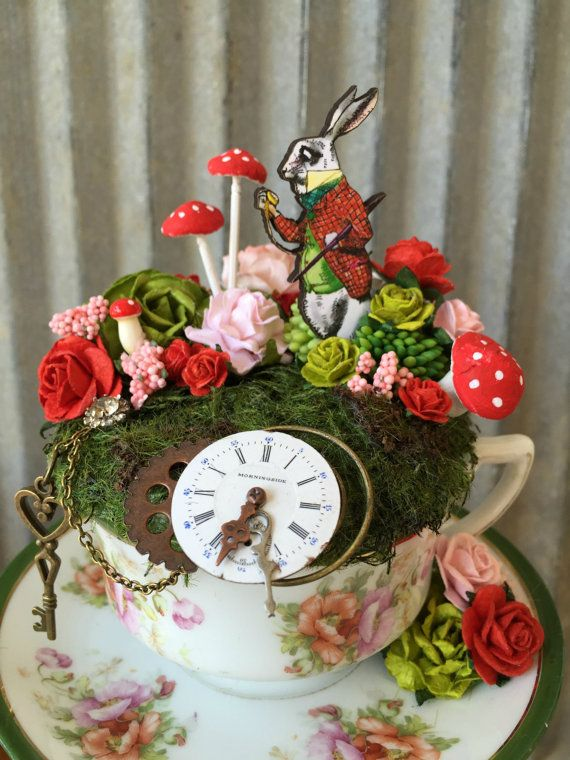 White Rabbit Tea Cup Garden Fairy Tea Cup Alice in by ChikiBird