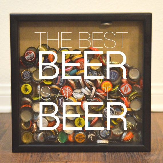More Options Beer Cap Shadow Box Custom Bar Sign by FleetFoxCo, $25.00: