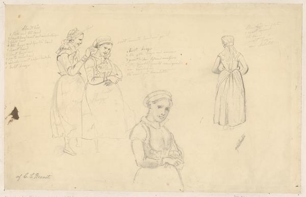 """""""Skånska bondkvinnor i sockendräkter"""" av Carl Stefan Bennet, någon gång mellan 1820-1878. Uppsala Universitetsbibliotek, inventarienummer 34610"""