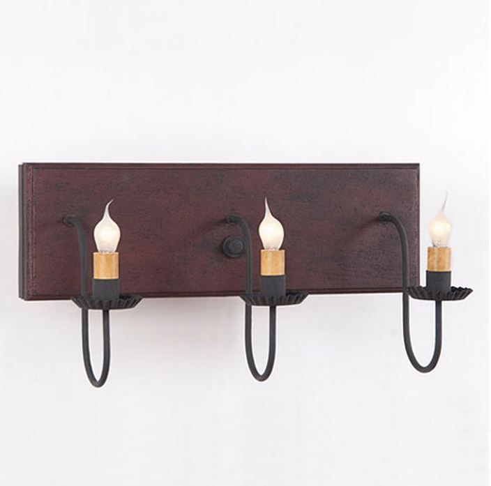 Primitive country style 3 arm vanity light is handcrafted in pennsylvania by irvins country tinware comes direct wired with three candelabra sockets