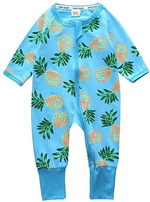 b0cbec082f83 Amazon.com  Kids Tales Pineapple Footed Zipper Pajama Sleeper Cotton ...