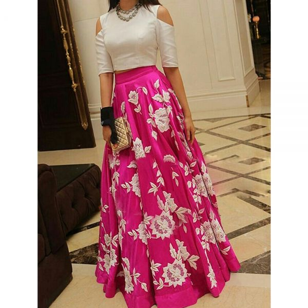 Buy Crepe Silk Arohi Pink Embrodered Lehenga Online at cheap prices from Shopkio.com: India`s best online shoping site