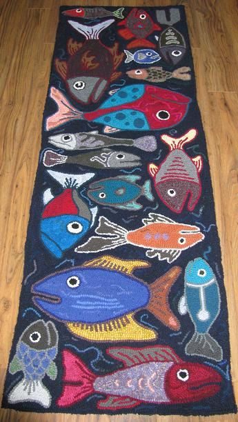 every child makes a fish ??    (Reserved for DAN - A Day's Catch Runner. $780.00, via Etsy.  could make a mural...)
