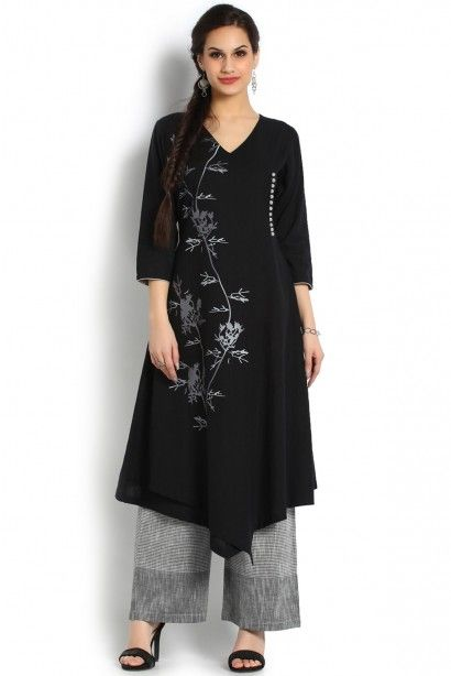 Soch Black and Grey Khadi Kurti Suit - SAMY KS 60011