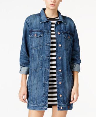 GUESS Longline Dark Blue Wash Denim Jacket