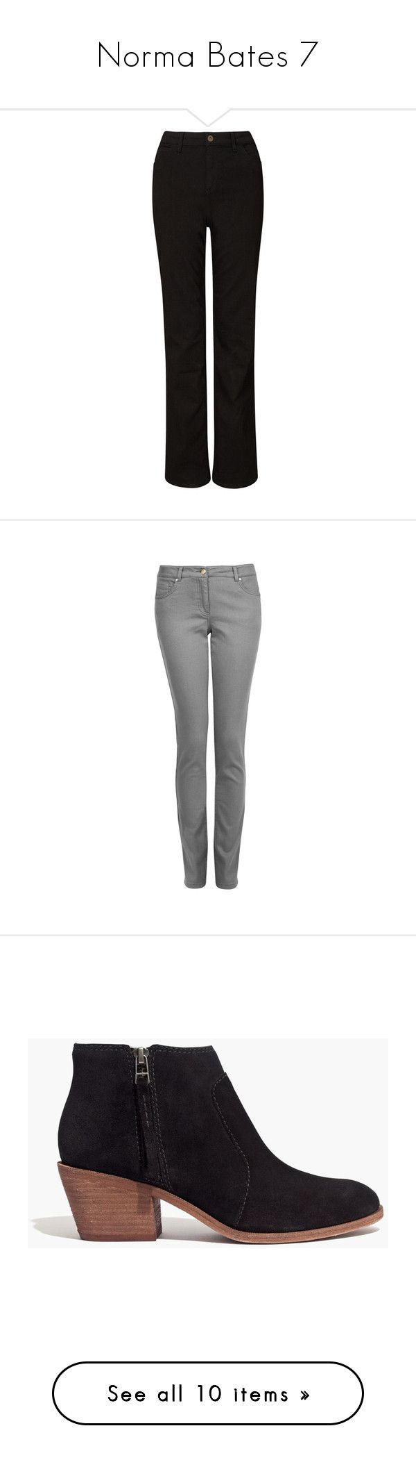 """""""Norma Bates 7"""" by rtlove ❤ liked on Polyvore featuring jeans, pants, black, john lewis, slim fit straight leg jeans, slim fit jeans, slim straight leg jeans, slim cut jeans, laura ashley jeans and straight leg jeans"""
