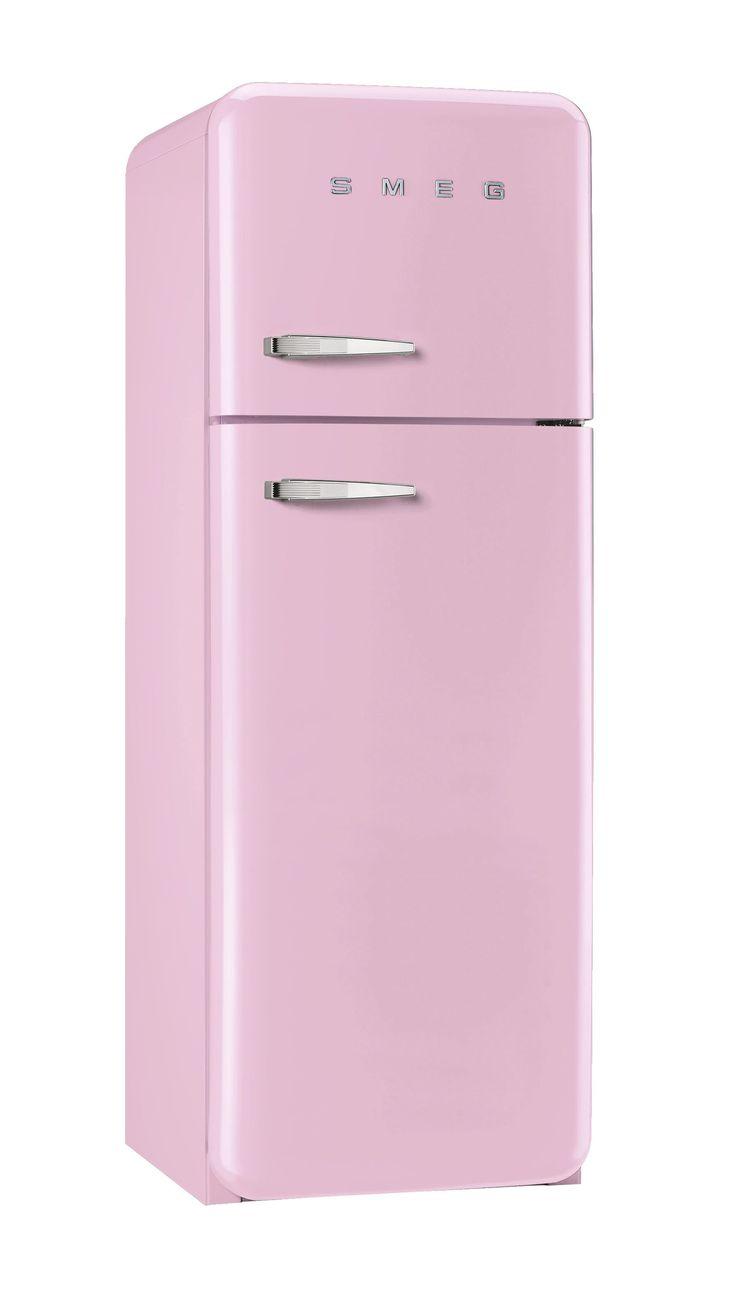 Rose poudrée dans la cuisine ! Réfrigérateur 2 portes SMEG rose - BUT