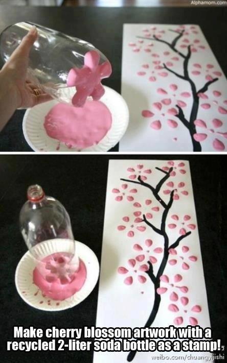 make a cherry blossom tree with a pop bottle very cool ideas for the house pinterest. Black Bedroom Furniture Sets. Home Design Ideas