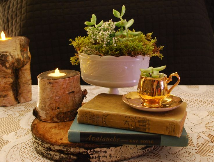 Vintage Wedding, Old Books, Moss and Teacups