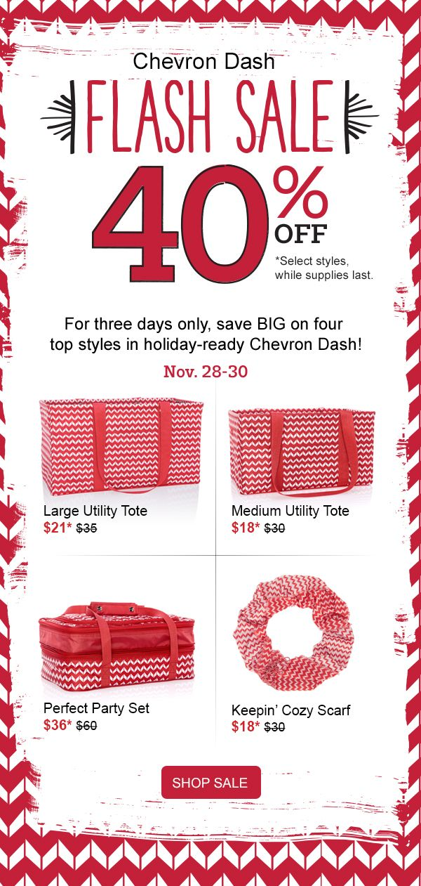 #31 Thirty-One Gifts Chevron Dash FLASH SALE 40% off some items, while supplies last. Large Utility Tote, Littles Carry-All Caddy, Medium Utility Tote and Mini Zipper Pouch all in Chevron Dash. Order by December 11th for guaranteed delivery by Christmas. See this bundle and more at MyThirtyOne.com/PiaDavis or find your consultant in the upper right corner of the 31 website. Shop early!