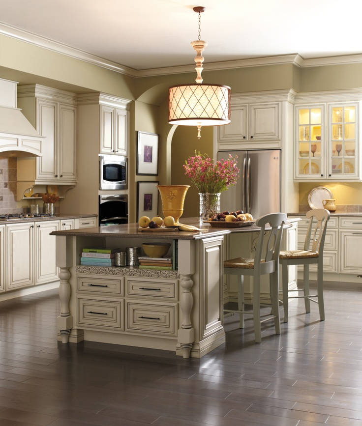 This Kemper Kitchen Is Warmly Welcoming In Coconut With Grey Stone Glaze.  Furniture Style