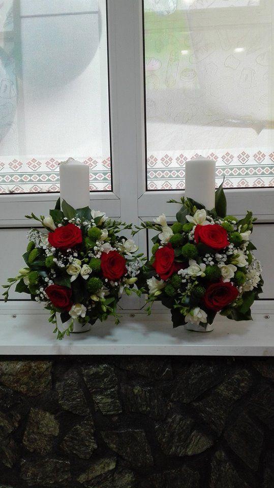 Lumanari de nunta din trandafiri, frezie si santini