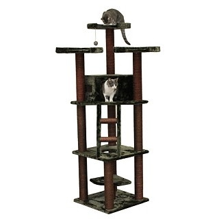 Redwood 74 Inch Dark Brown Cat Tree Furniture By Kitty Mansions