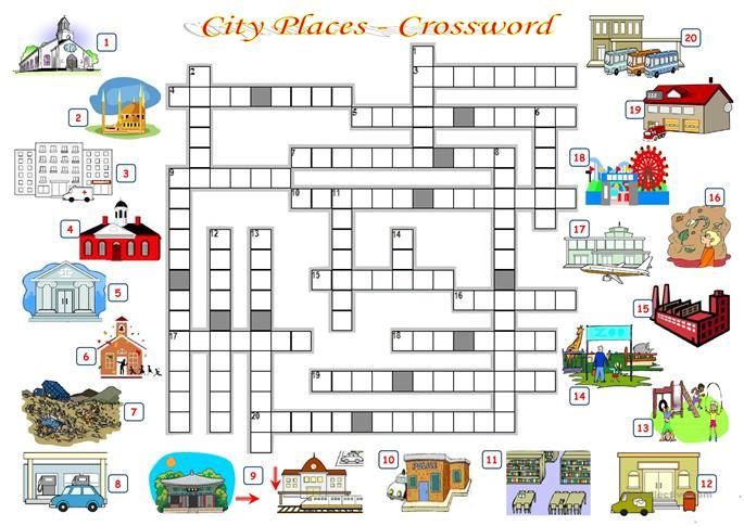 City Places Crossword Crossword Places Worksheet Vocabulary Places of city worksheet